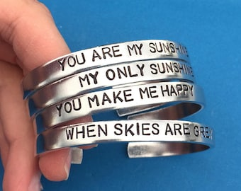 SET OF 4 - You Are My Sunshine My Only Sunshine You Make Me Happy When Skies Are Grey Hand Stamped Bracelet, Family Gift Ideas, Group Gift