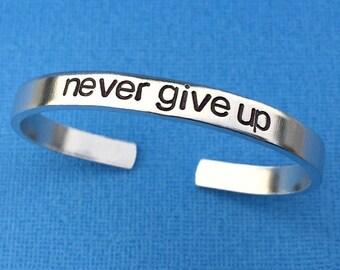 Never Give Up Hand Stamped Bracelet, Quote Bracelet, Inspirational Gift, Christmas Gift For Her, Stacking Bracelet, Skinny Cuff Bracelet