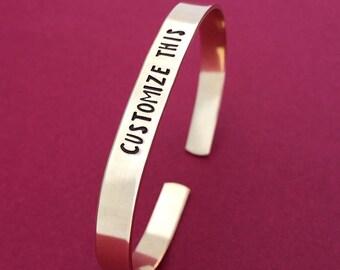 Custom Hand Stamped Bracelet {BRASS}, Gold Bracelet, Personalized Cuff Bracelet, Sorority Gift, Mother's Day, Christmas Gift, Cheer Gift