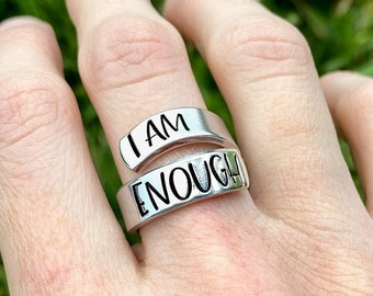 mental health awareness inspirational gift positive affirmations love yourself skinny cuff hand stamped bracelet women empowerment