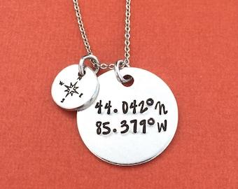 Coordinates Hand Stamped Necklace Jewelry - Grad Gift - GPS Coordinates - Personalized Jewelry - Custom Coordinates - Latitude Longitude