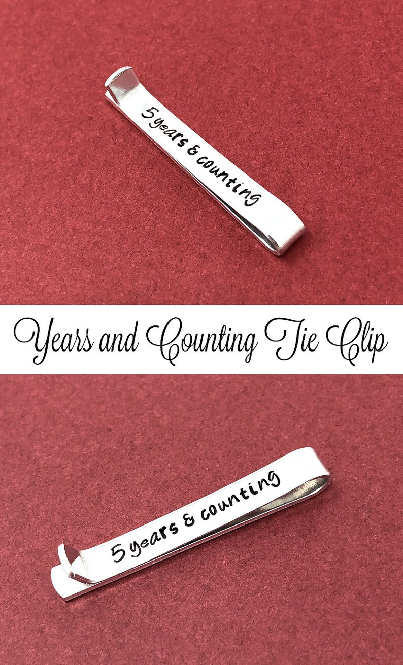 Personalized Tie Clip Years And Counting Anniversary Gift 10th Anniversary Gift Tie Bar For Him Custom Gift For Husband Hand Stamped Gift