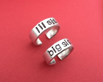 Big Sis Lil Sis Hand Stamped Ring Set Cuff Adjustable Aluminum Sisters Friendship Personalized Gift