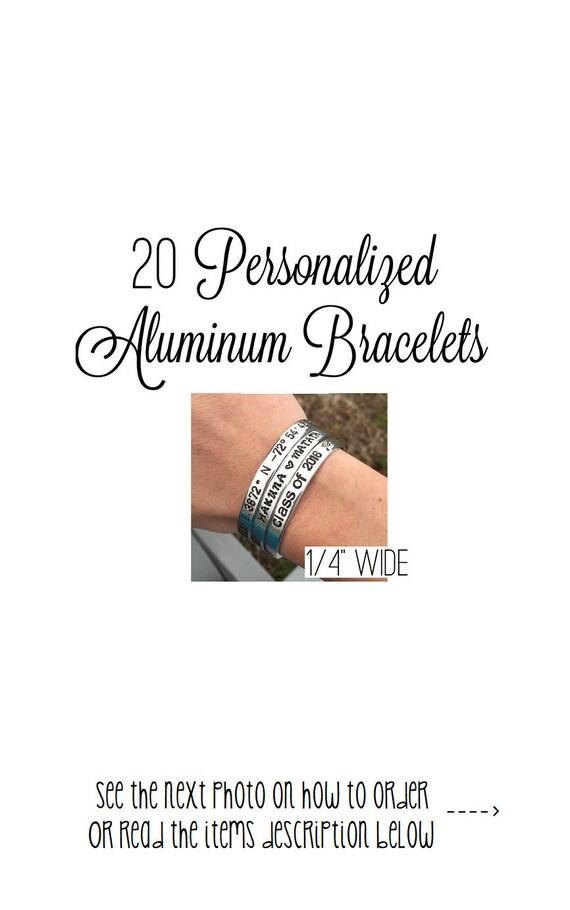 Set Of 14 Customized Hand Stamped Bracelet Aluminum Skinny Cuff Personalized Gift Choose Phrase Bridesmaid Message Wedding Bulk 14 Wide