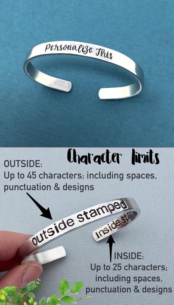 Hand Stamped Bracelet, Custom Bracelet, Personalized Jewelry, Bracelets For Women, Custom Jewelry Personalized Gift For Mom Bridesmaid Gift