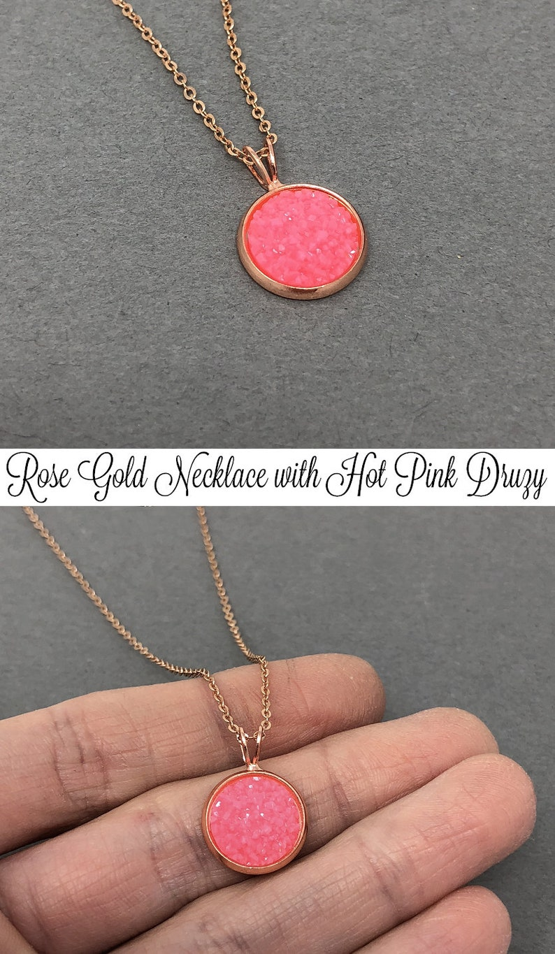 Birthday Gift For Her Bridesmaid Gift Hot Pink Druzy Necklace Druzy Crystal Necklace Druzy Pendant Daughter Gift ROSE GOLD Necklace