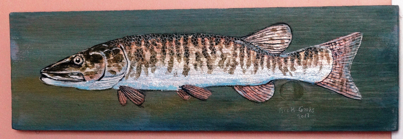 Muskie auf einem Brett Zeder. Original-Gemälde Wandkunst | Etsy