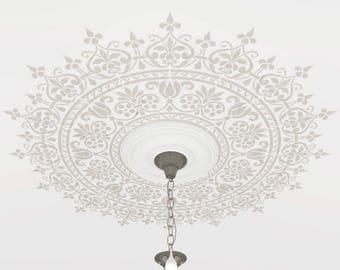 Ceiling Stencil medallion. Custom size.