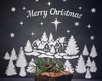 Christmas Tree Spray Snow.Spray Snow Stencils Etsy