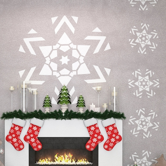 Christmas decor wall stencils snowflake