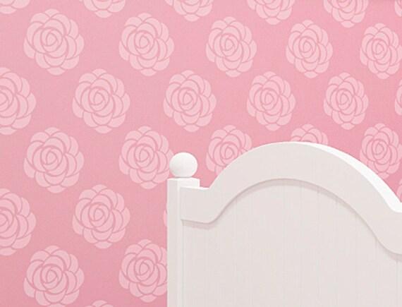 Wall Stencil Rose Flower Pattern Seamless Allover