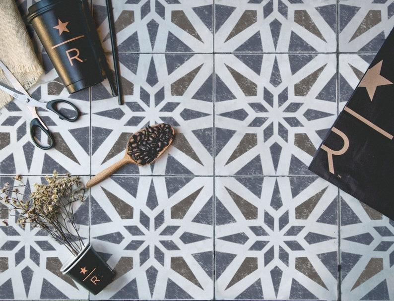 Moderno e geometrico delle mattonelle stencil stencil etsy