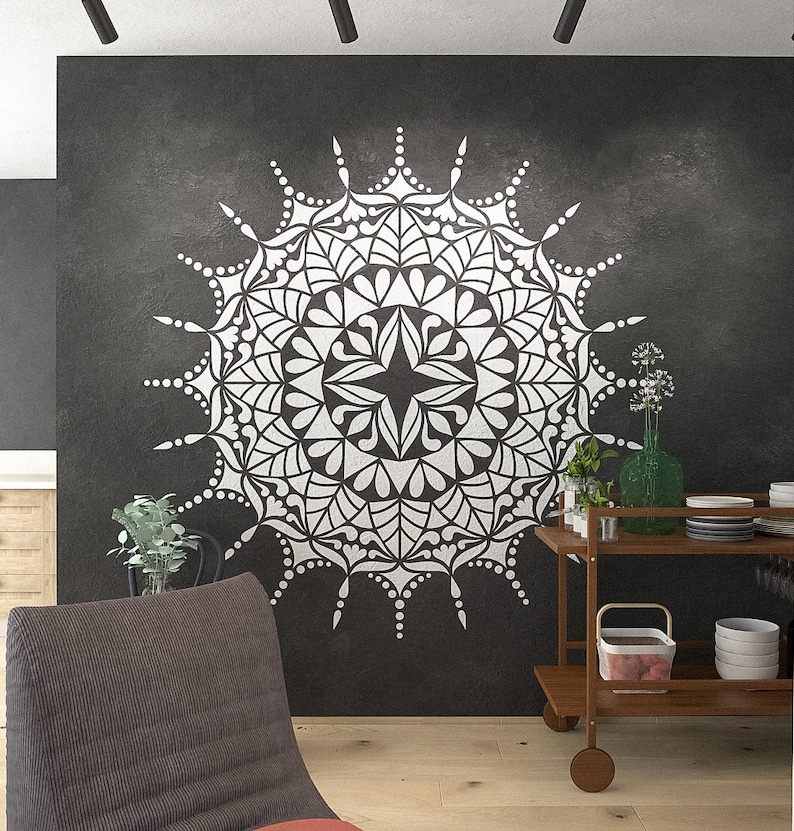Mandala Stencil Comet Extra Large Mandala Stencils For Wall And Floor Painting Large Mandala Stencils Stencilslab