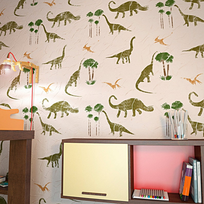 Charming DINOSAURS Wall Stencil For Kids Room Decor Nursery Wall | Etsy