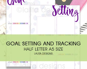 Filofax Kikki K Printable Goal Setting and Monthly Check Tracking Insert A5 Half Letter Size