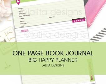 BIG Happy Planner, Erin Condren Book Journal Insert - Printable