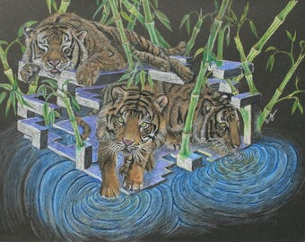 SOLD! Colored Pencil Tiger Drawing