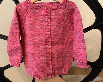 Hand knit baby cardigan/sweater - Superwash Merino wool - 12mths - BC10