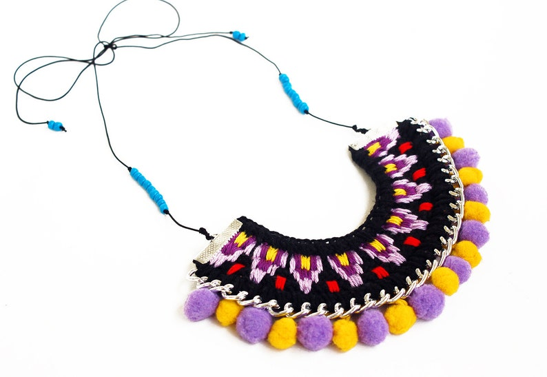 Festival Clothing  Festival Accessories   Tassels Necklace  Boho Clothing  Pom Pom Necklace  Pom Pom Tassel  Hippie Clothes  Gypsy