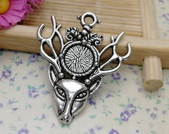 2 Buck deer forest tree scenery charms antique silver tone A734