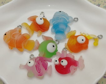 10pcs plastic tropical fish pendant charm BP385 cute resin acrylic handmade craft jewelry making DIY finding necklace earring decoration