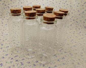 Lot de 10 goutte d/'eau mini Verre Liège Bouteilles Flacon bocaux Craft Charme Pendentif