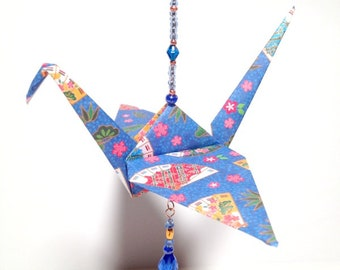 Christmas ornament with origami crane and essential oil diffuser