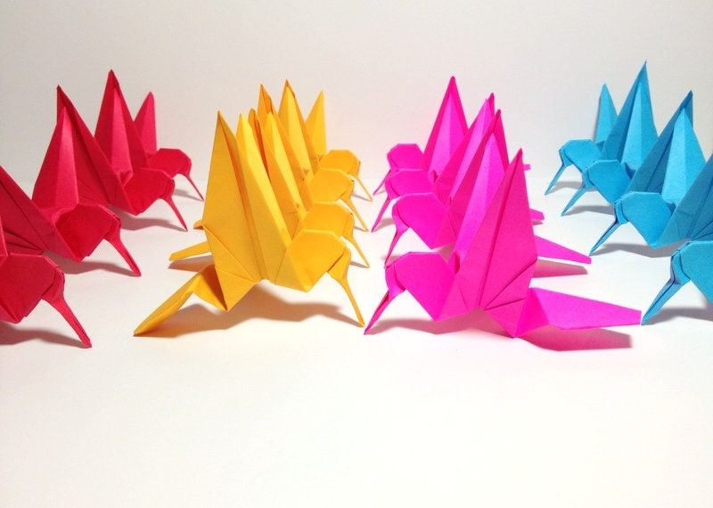origami bird cranes hanging paper backdrop one string by the ... | 570x800