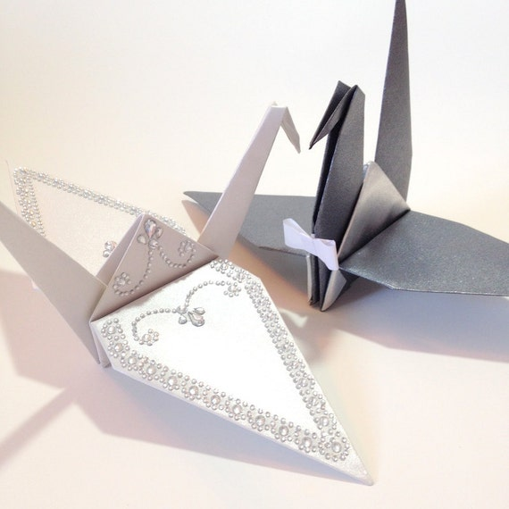 Bride Groom 10 Large Wing Span Origami Cranes Table Etsy