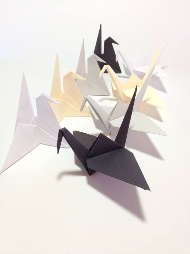 Formal Wedding Theme Black Origami Crane Cake Topper Etsy