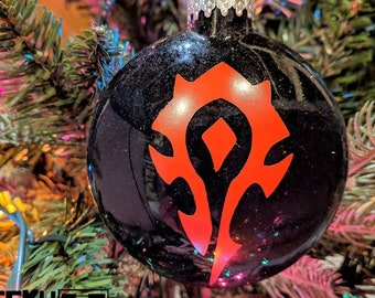 world of warcraft horde insignia holiday decor gift gamer glass glitter ornament - World Of Warcraft Christmas