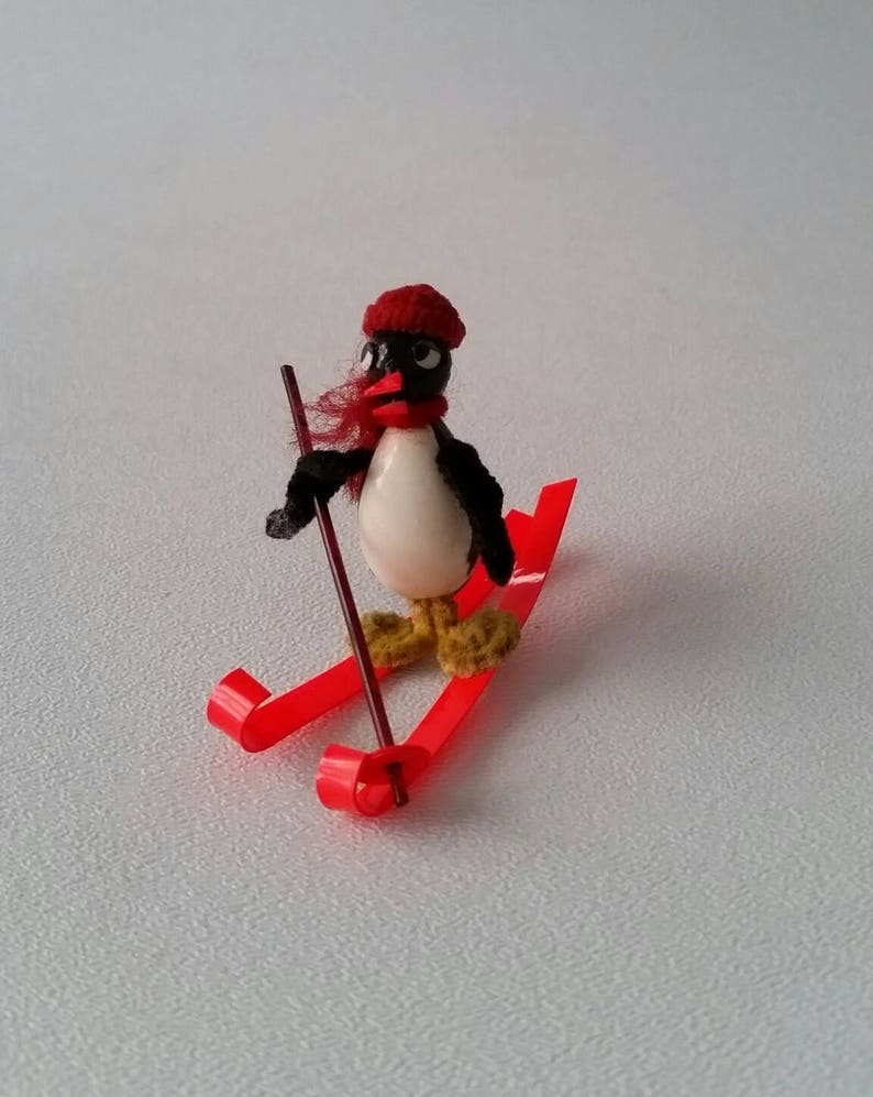 E236 Celluloid and Pipe Cleaner Penguin on Skis Miniature Toy