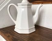 Vintage Pfaltzgraff, Pfaltzgraff Heritage White, Pfaltzgraff Teapot, Ironstone Teapot, Tea Pot, Stoneware Teapot, Small Teapot, Farmhouse