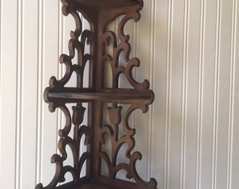Ornate Corner Shelf Three Tier Vintage Wall Decor