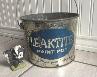 Metal Pail, Metal Bucket, Leaktite, All Purpose Pail, Pail, Paint Pot, Rustic Metal Bucket, Painters Choice, Rustic Pail, Rustic Decor