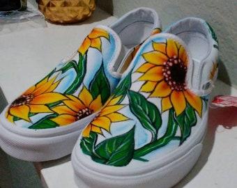 6b2bc02d733bb0 Custom sunflower vans!