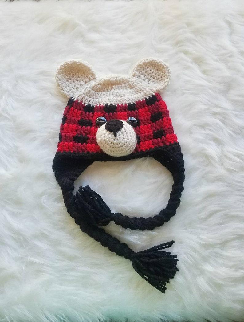 a354371ed Buffalo Plaid Beanie Knitted Bear Hat Crochet Bear Beanie | Etsy