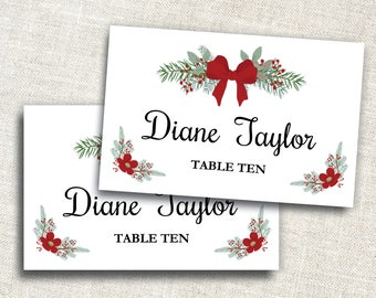 holiday place card template editable place card ms word placecard template christmas place card name card instant download