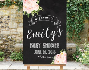 Chalkboard Baby Shower Welcome Sign Personalized Welcome Etsy