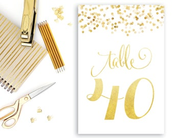 Gold Table Numbers INSTANT DOWNLOAD Gold Confetti Table Numbers, 1-40 Table Numbers, Faux Gold Table Numbers, Printable, Downloadable