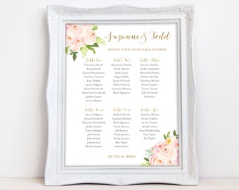 Wedding Seating Chart Floral Seating Chart Wedding Seating Plan Table Assignment Seating Chart Small Printable 8x10 The Bella