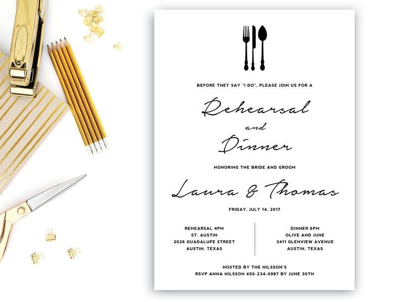 Rehearsal Dinner Invitation Template Wedding Editable INSTANT DOWNLOAD Word