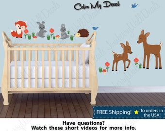 Kids Wall Decal, Fox Wall Decal, Animal Wall Decals, Deer, Rabbit Wall Stickers, Nursery Decals  (Fox Deer Rabbit Stock)