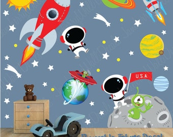 Space Wall Decal with Custom Name, Outer Space stickers, Outer Space Decal, Rocket Ship Decals, Astronaut Decals (Space Scene DK) SP3S