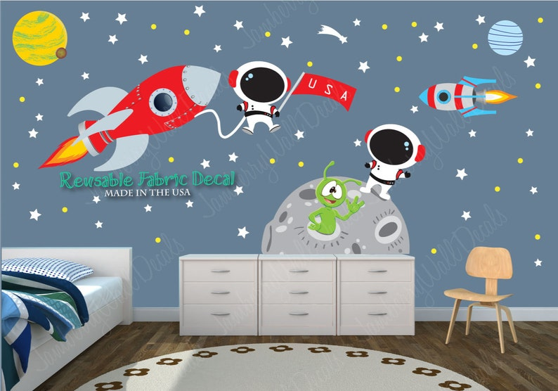 space wall decal space stickers astronaut decal space | etsy