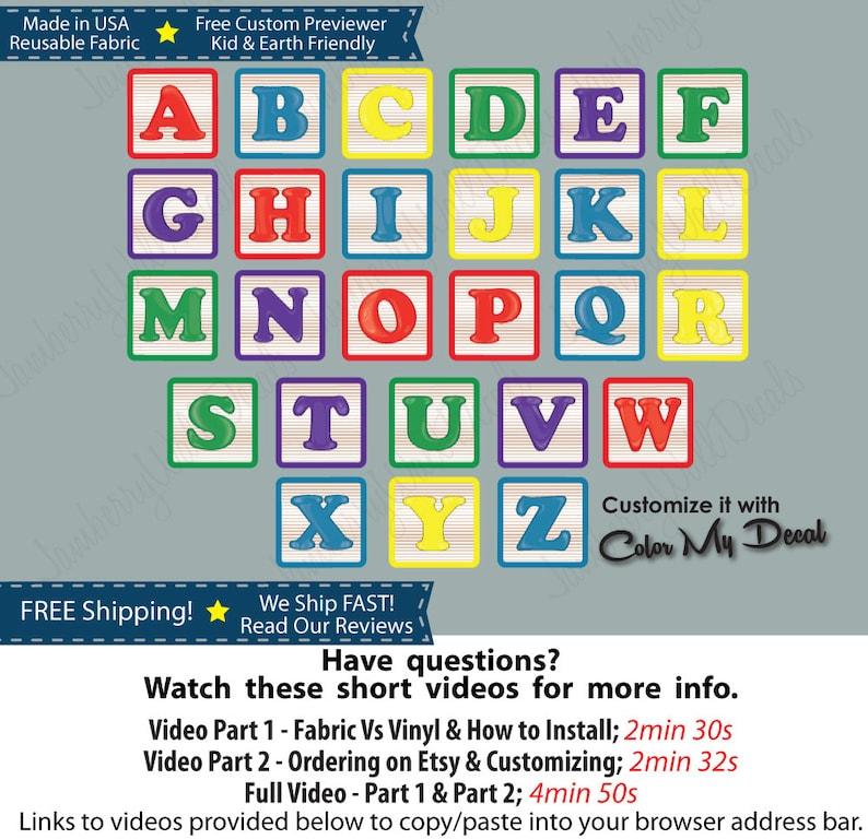 Removable Fabric Baby Alphabet Wall Decal Kids Wall Art Nursery Wall  Sticker Alphabet Blocks (Full Size Alphabet Blocks Colorful) ABC