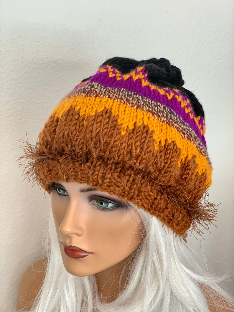 Hand Knits 2 Love Beanie Slouch Hat Cap Fair-isle Designer Original Female Winter Head Hair Chemo Ski Gift Christmas Hop Boho Beads Tie