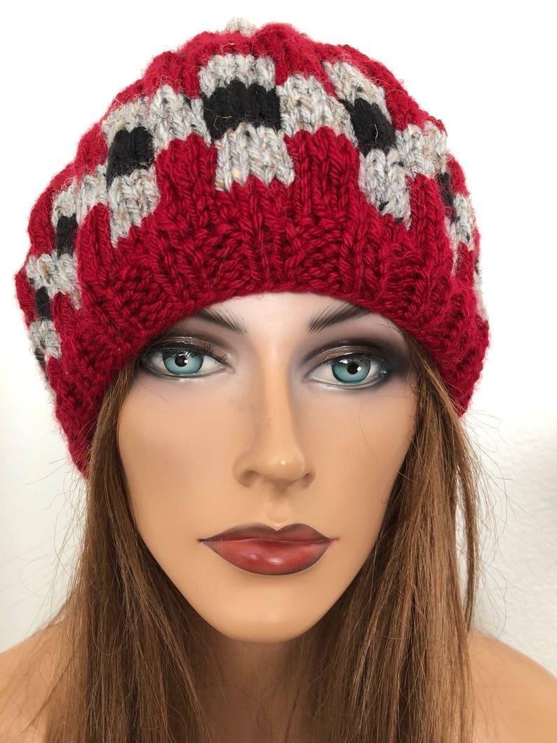 Hand Knits 2 Love Beanie Hat Slouch Checkers Designer Fashion Cap Chemo Female Winter Gift Birthday Christmas Ski Snow Head Hair