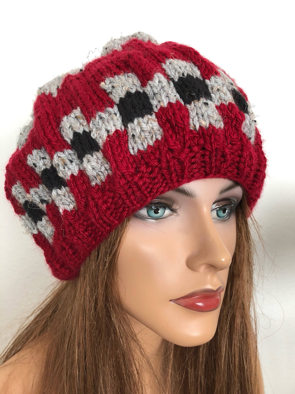 0ddcf453d Hand Knits 2 Love Beanie Hat Slouch Checkers Designer Fashion Cap Chemo  Female Winter Gift Birthday Christmas Ski Snow Head Hair