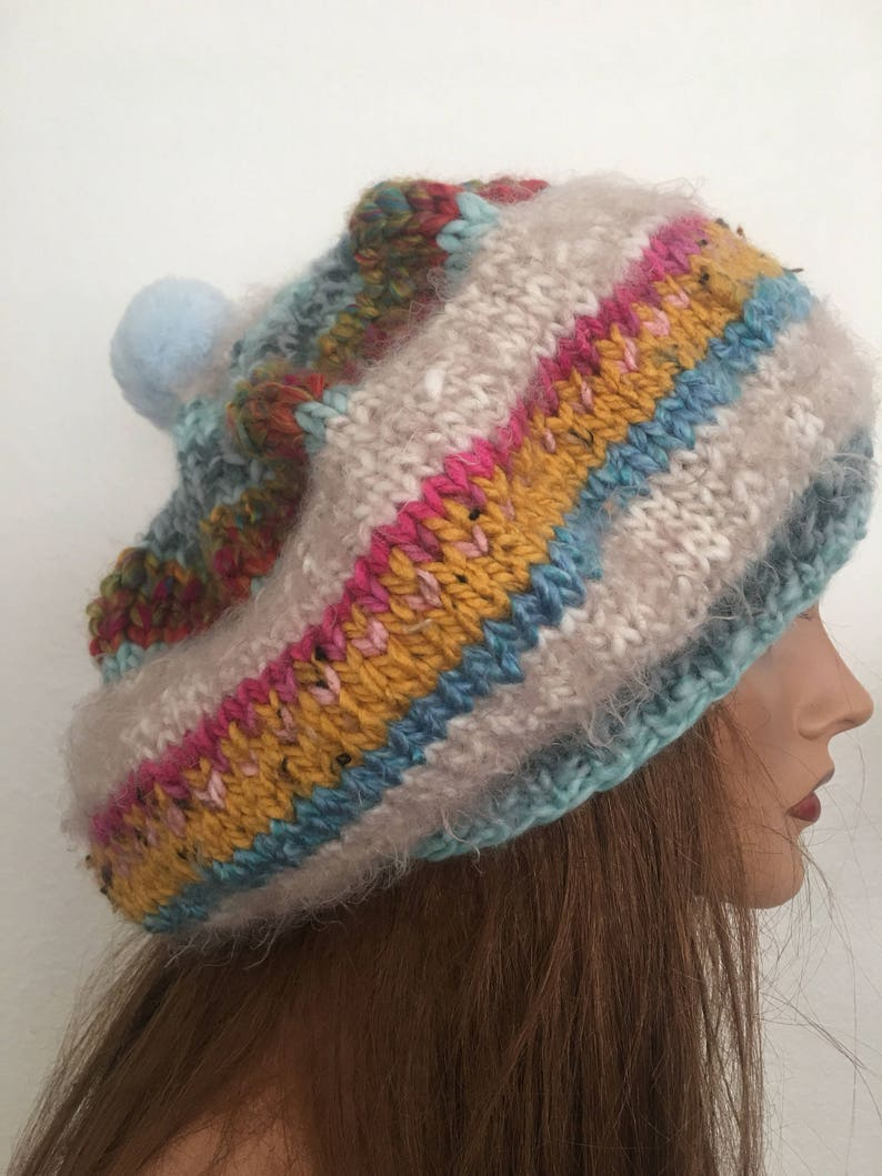 34be84ad Hand Knits 2 Love Beret Slouch Hat Cap Beanie D dignet   Etsy